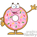 8666 Royalty Free RF Clipart Illustration Cute Donut Cartoon Character With Sprinkles Waving Vector Illustration Isolated On White