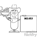 8497 royalty free black and white cowboy sausage cartoon character carrying a hot dog, french fries and cola next to menu board vector illustration isolated on white gif, png, jpg, eps, svg, pdf