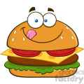 8517 Royalty Free RF Clipart Illustration Hungry Hamburger Cartoon Character Licking His Lips Vector Illustration Isolated On White