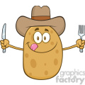 8797 Royalty Free RF Clipart Illustration Cowboy Potato Cartoon Character With Knife And Fork Vector Illustration Isolated On White