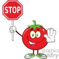 8399 Royalty Free RF Clipart Illustration Tomato Cartoon Mascot Character Gesturing And Holding A Stop Sign Vector Illustration Isolated On White