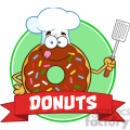 8692 Royalty Free RF Clipart Illustration Chocolate Chef Donut Cartoon Character With Sprinkles Circle Label Vector Illustration Isolated On White