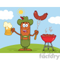 Illustration of German Oktoberfest Sausage Cartoon Character Holding A Beer And Weenie Next To BBQ Vector