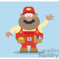 8532 Royalty Free RF Clipart Illustration African American Mechanic Cartoon Character Waving For Greeting Flat Style Vector Illustration With Background