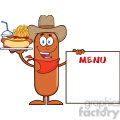 8498 Royalty Free RF Clipart Illustration Cowboy Sausage Cartoon Character Carrying A Hot Dog, French Fries And Cola Next To Menu Board Vector Illustration Isolated On White