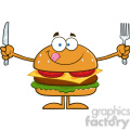 8563 Royalty Free RF Clipart Illustration Hungry Hamburger Cartoon Character With Knife And Fork Vector Illustration Isolated On White