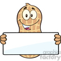 8737 Royalty Free RF Clipart Illustration Peanut Cartoon Mascot Character Holding a Blank Sign Vector Illustration Isolated On White