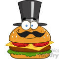 8518 Royalty Free RF Clipart Illustration Smiling Hamburger Cartoon Character Gentleman With Cylinder Hat And Mustache Vector Illustration Isolated On White
