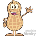 8625 Royalty Free RF Clipart Illustration Happy Peanut Cartoon Character Waving Vector Illustration Isolated On White