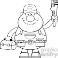 8534 Royalty Free RF Clipart Illustration Black And White Mechanic Cartoon Character With Wrench And Tool Box Vector Illustration Isolated On White