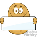 8788 Royalty Free RF Clipart Illustration Potato Cartoon Character Holding A Blank Sign Vector Illustration Isolated On White