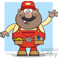8527 Royalty Free RF Clipart Illustration Smiling African American Mechanic Cartoon Character Waving For Greeting Vector Illustration With Background