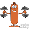 8430 Royalty Free RF Clipart Illustration Smiling Sausage Cartoon Character Training With Dumbbells Vector Illustration Isolated On White