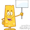 8512 Royalty Free RF Clipart Illustration Happy Cheese Cartoon Character Holding A Blank Sign Vector Illustration Isolated On White