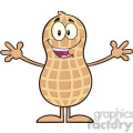 8636 Royalty Free RF Clipart Illustration Funny Peanut Cartoon Character Wanting For Hug Vector Illustration Isolated On White
