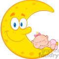 royalty free rf clipart illustration cute baby girl sleeps on the smiling moon cartoon characters  gif, png, jpg, eps, svg, pdf