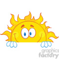 Royalty Free RF Clipart Illustration Smiling Sun Cartoon Mascot Character Over A Sign Board
