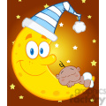 Royalty Free RF Clipart Illustration Cute African American Baby Boy Sleeps On The Moon With Sleeping Hat Over Blue Sky With Stars
