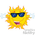 Royalty Free RF Clipart Illustration Happy Sun With Sunglasses And Open Arms