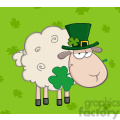 Royalty Free RF Clipart Illustration Irish Sheep Carrying A Clover In Its Mouth On A Green Background