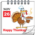 8970 Royalty Free RF Clipart Illustration Calendar Page Turkey Chef With Pie Vector Illustration vector clip art image