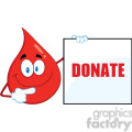 royalty free rf clipart illustration red blood drop cartoon mascot character showing a blank sign with text donate gif, png, jpg, eps, svg, pdf