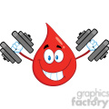royalty free rf clipart illustration smiling red blood drop cartoon mascot character training with dumbbells gif, png, jpg, eps, svg, pdf