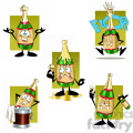 cartoon bottle of champagne clipart set