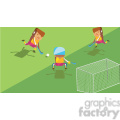 olympic field hockey characters illustration