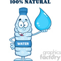 royalty free rf clipart illustration smiling water plastic bottle cartoon mascot character holding a water drop with text vector illustration isolated on white