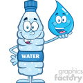9382 royalty free rf clipart illustration smiling water plastic bottle cartoon mascot character holding a water drop vector illustration isolated on white