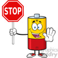 royalty free rf clipart illustration cute battery cartoon mascot character gesturing and holding a stop sign vector illustration isolated on white gif, png, jpg, eps, svg, pdf