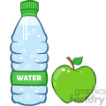 royalty free rf clipart illustration water plastic bottle and green apple cartoon illustratoion vector illustration isolated on white