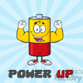 royalty free rf clipart illustration happy battery cartoon mascot character flexing vector illustration poster with text power up and background gif, png, jpg, eps, svg, pdf
