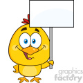 royalty free rf clipart illustration cute yellow chick cartoon character holding a blank sign vector illustration isolated on white gif, png, jpg, eps, svg, pdf