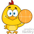 royalty free rf clipart illustration cute yellow chick cartoon character holding a basketball vector illustration isolated on white
