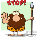 angry male caveman cartoon mascot character gesturing and standing with a spear vector illustration with text stop gif, png, jpg, eps, svg, pdf