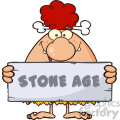 funny red hair cave woman cartoon mascot character holding a stone sign with text stone age vector illustration gif, png, jpg, eps, svg, pdf