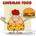 red hair cave woman cartoon mascot character holding a big burger and gesturing ok vector illustration with text caveman food gif, png, jpg, eps, svg, pdf