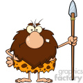 angry male caveman cartoon mascot character standing with a spear vector illustration  gif, png, jpg, eps, svg, pdf