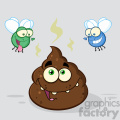 royalty free rf clipart illustration two flies hovering over pile of happy poop cartoon characters vector illustration with backgrond