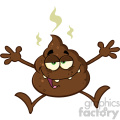 royalty free rf clipart illustration happy poop cartoon mascot character jumping vector illustration isolated on white