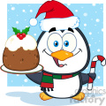 royalty free rf clipart illustration cute penguin cartoon character holding christmas pudding and candy cane on the snow vector illustration isolated on white