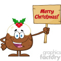royalty free rf clipart illustration happy christmas pudding cartoon character holding up a blank wood sign with text vector illustration isolated on white