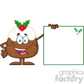 royalty free rf clipart illustration jolly christmas pudding cartoon character presenting a blank sign with a holly corner vector illustration isolated on white