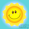 royalty free rf clipart illustration smiling sun cartoon mascot character simple flat design vector illustration with background