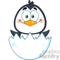 royalty free rf clipart illustration surprise baby penguin cartoon character out of an egg shell vector illustration isolated on white
