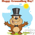 royalty free rf clipart illustration smiling marmot cartoon character with open arms in groundhog day vector illustration with background and text