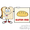 illustration talking bread slice cartoon mascot character pointing to a sign gluten free vector illustration isolated on white background
