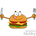 illustration hungry burger cartoon mascot character with knife and fork vector illustration isolated on white background